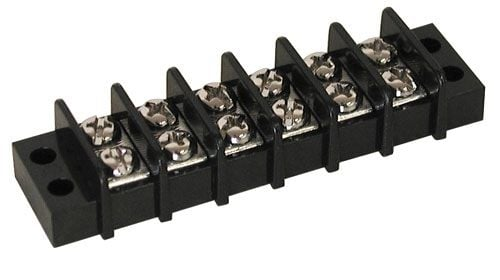 6-POSITION DUAL-ROW TERMINAL STRIP, 20 AMP
