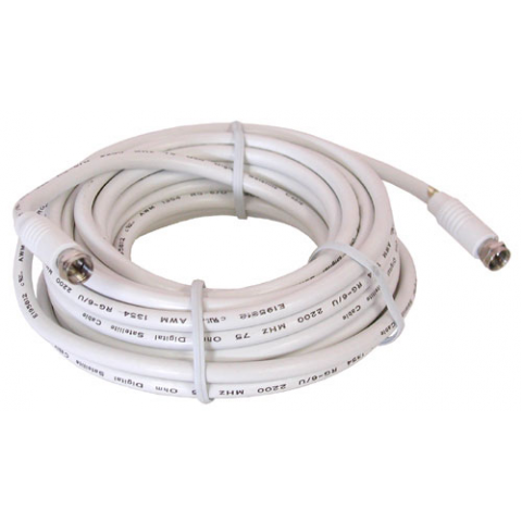 25' WHITE RG-6U VIDEO HOOK-UP CABLE