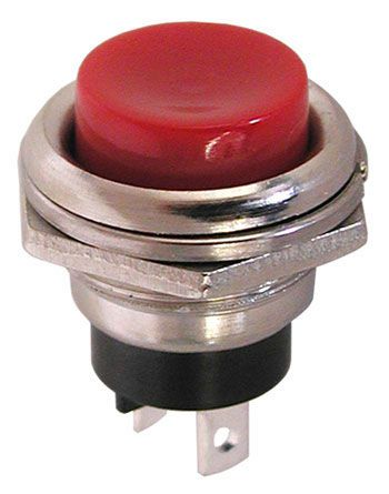 SPST PUSHBUTTON, N.O., CHROME BEZEL, RED BUTTON
