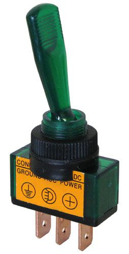 12 VDC ON-OFF LIGHTED TOGGLE SWITCH, GREEN