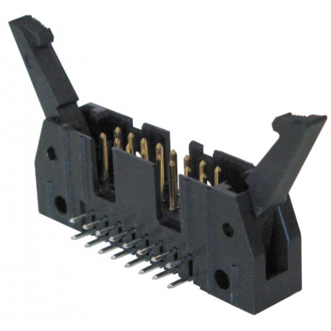 16-PIN SHROUDED HEADER W/ LATCHES, RIGHT-ANGLE