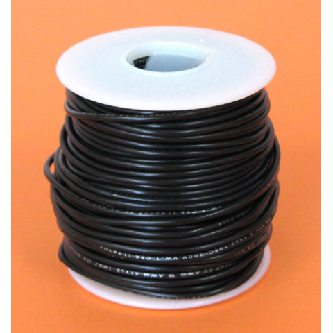 18 GA BLACK HOOK UP WIRE, SOLID 100'