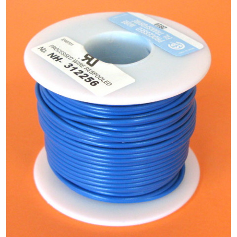 18 GA BLUE HOOK UP WIRE, SOLID 100'