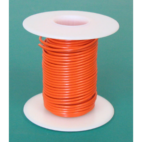 18 GA. ORANGE HOOK-UP WIRE, SOLID 25'