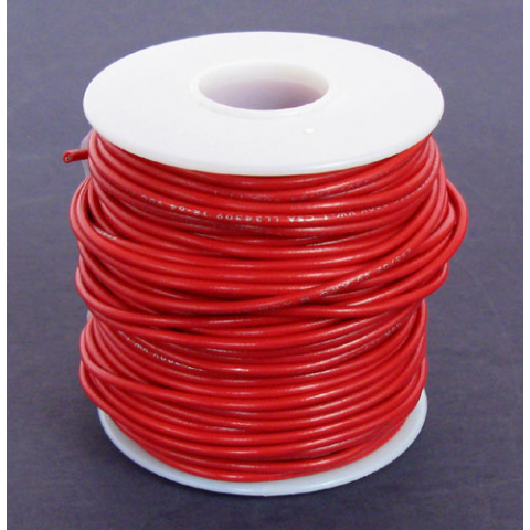 18 GA. RED HOOK-UP WIRE, STRANDED 100'
