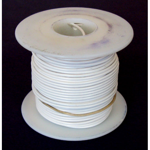 18 GA WHITE HOOK UP WIRE, SOLID WHITE