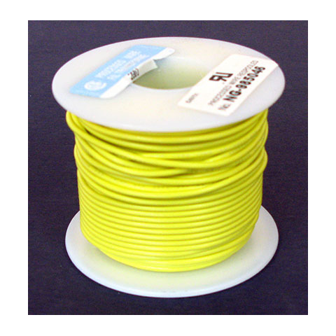 18 GA. YELLOW HOOK-UP WIRE, STRANDED 100'