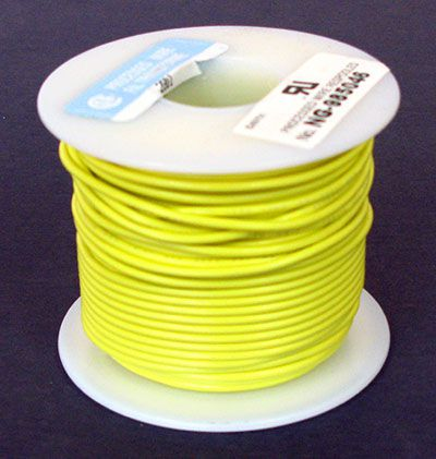 20 GA. YELLOW HOOK-UP WIRE, STRANDED 100'