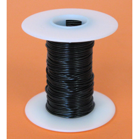 22 GA BLACK HOOK UP WIRE, STR 25'