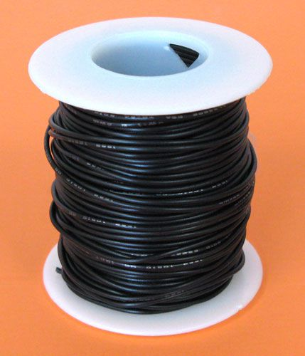 22 GA. BLACK HOOK-UP WIRE, STRANDED 100'