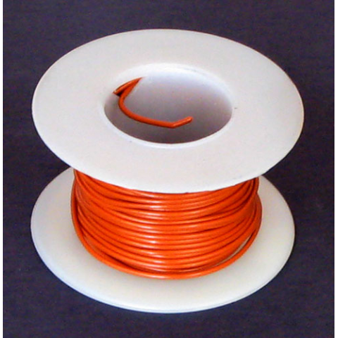 24 GA ORANGE HOOK-UP WIRE, STRANDED 25'