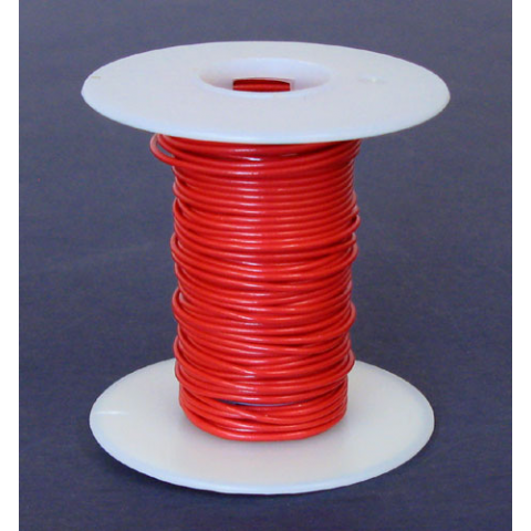 22 GA RED HOOK UP WIRE, SOLID 25'