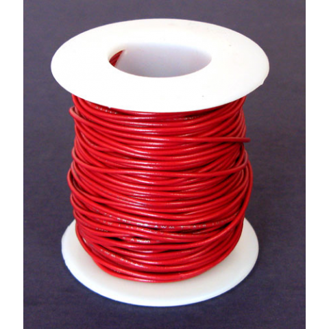 22 GA. RED HOOK-UP WIRE, STRANDED 100'