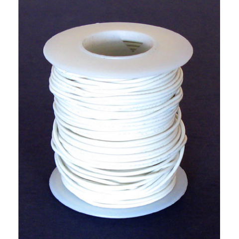 24 GA. WHITE HOOK-UP WIRE, SOLID 100'