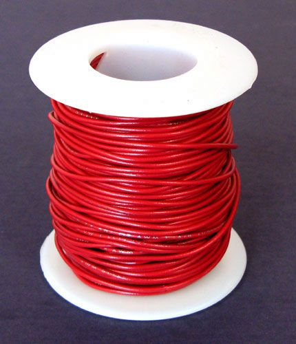 24 GA RED HOOK UP WIRE, SOLID 100'