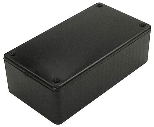 "BLACK PLASTIC CASE, 4.7"" X 2.6"" X 1.55"""