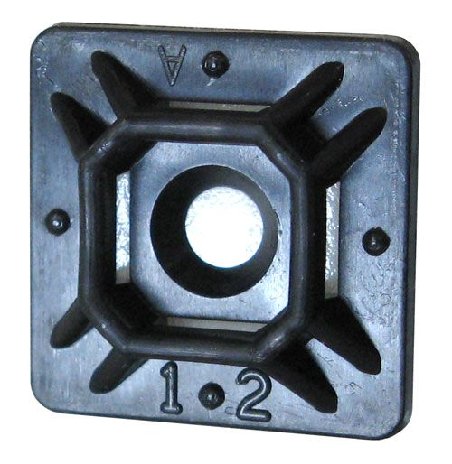 "3/4"" SQUARE ADHESIVE-BACKED TIE MOUNT, BLACK"