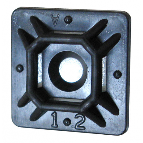"1"" SQUARE ADHESIVE-BACKED TIE MOUNT, BLACK"