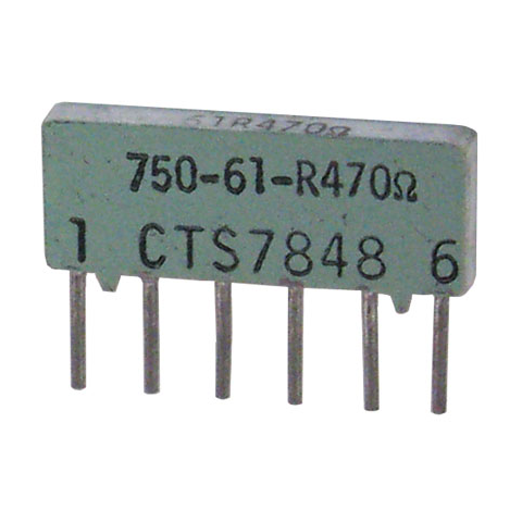 SIP RESISTOR NEWWORK, CTS, 470 OHM BUSSED