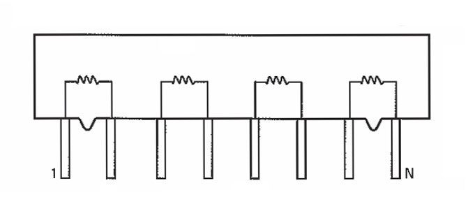 sip resistor network  1 2k  isolated