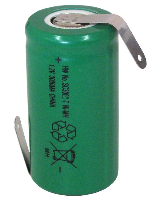 Ni Mh Sub C 3000 Mah Rechargeable W Solder Tabs All
