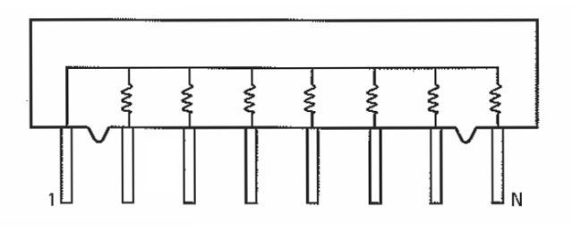 sip resistor network  440 ohm  bussed