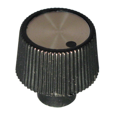 "0.9"" KNOB FOR 6MM KNURLED SHAFT (BRONZE W/ DOT)"