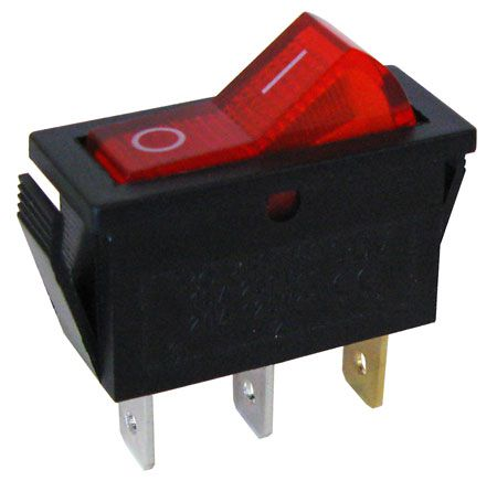 Lighted Toggle Switch: 120 VAC LIGHTED ROCKER SWITCH, SPST,Lighting