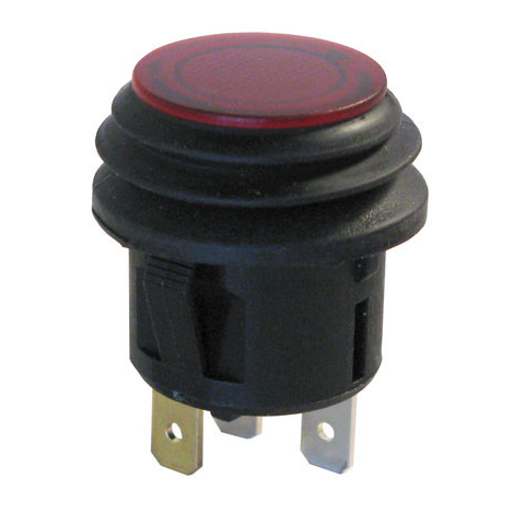 12VDC LIGHTED PUSHBUTTON SWITCH, WATER-RESISTANT