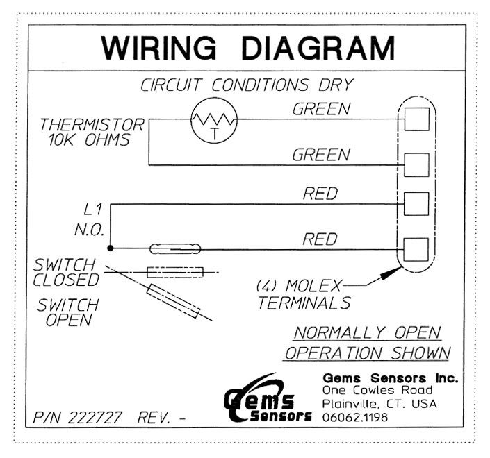 wiring diagram for normally open float switch wiring diagram for bathroom light pull switch float switch with integrated thermistor | all electronics ... #7