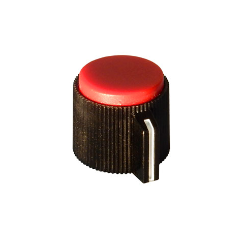 RED TOP POINTER KNOB FOR 6 MM SHAFT, 19MM DIA.