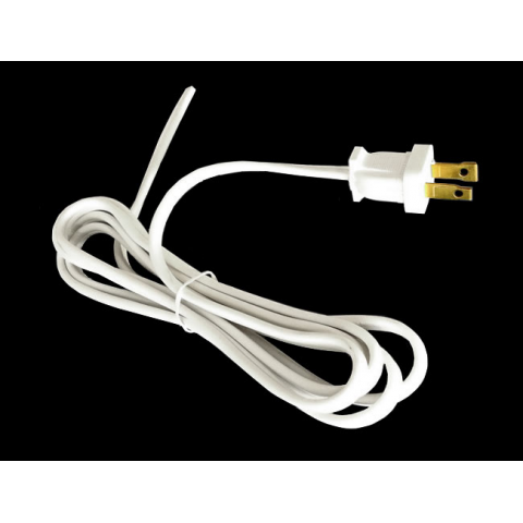6' WHITE POWER CORD, 2-CONDUCTOR