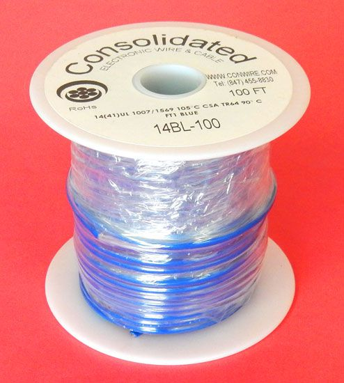 14 GA BLUE HOOK-UP WIRE, STRANDED, 100'