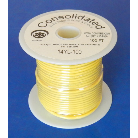 14 GA YELLOW HOOK-UP WIRE, STRANDED 100'
