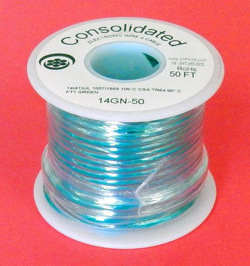 14 GA GREEN HOOK-UP WIRE, STRANDED 50'