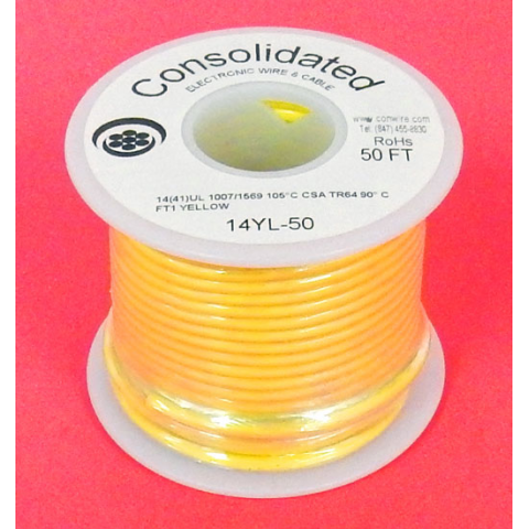 14 GA YELLOW HOOK-UP WIRE, STRANDED 50'