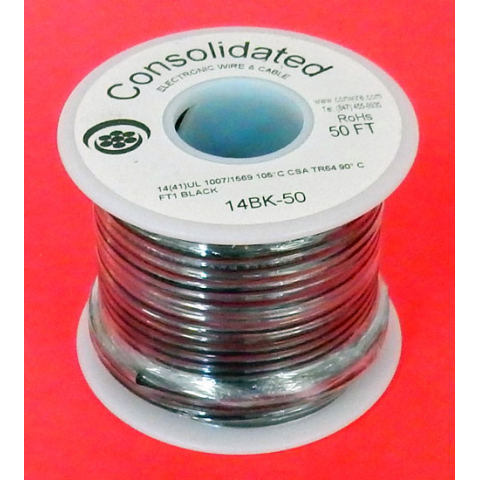 14 GA BLACK HOOK-UP WIRE, STRANDED 50'