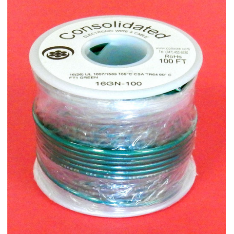 16 GA GREEN HOOK-UP WIRE, STRANDED 100'