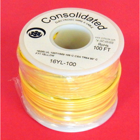 16 GA. YELLOW HOOK-UP WIRE, STRANDED 100'