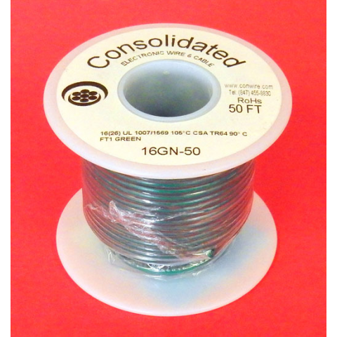 16 GA. GREEN HOOK-UP WIRE, STRANDED 50'