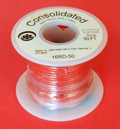 16 GA. RED HOOK-UP WIRE, STR 50'