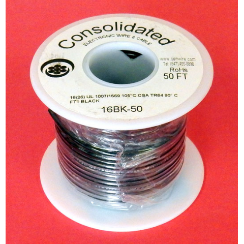 16 GA. BLACK HOOK-UP WIRE, STRANDED 50'