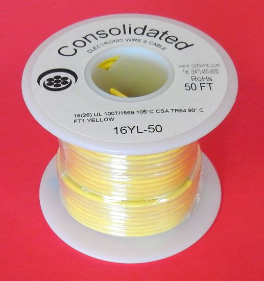 16 GA. YELLOW HOOK-UP WIRE, STR 100'