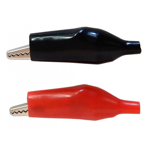 LARGE INSULATED ALLIGATOR CLIPS, 1-RED/1-BLACK