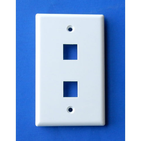 WALL PLATE FOR 2 KEYSONE JACKS, WHITE