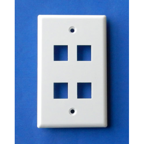 WALL PLATE FOR 4 KEYSTONE JACKS, WHITE