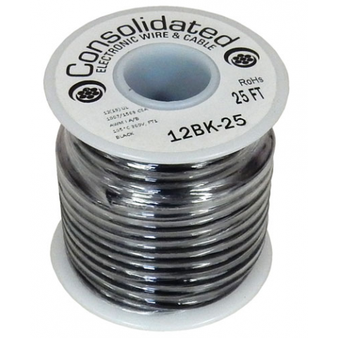 12 GA BLACK STRANDED WIRE, 25'