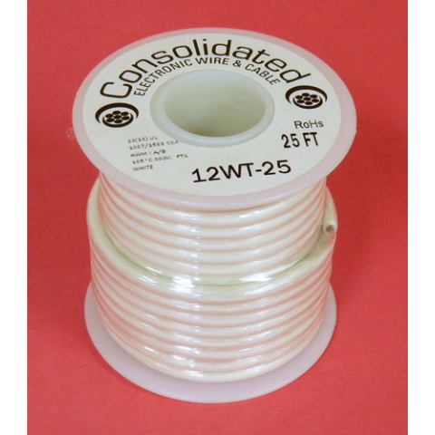 12 GA STRANDED WHITE WIRE, 25'