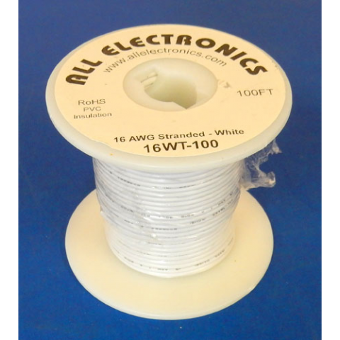 16 GA WHITE HOOK UP WIRE, STR 100'