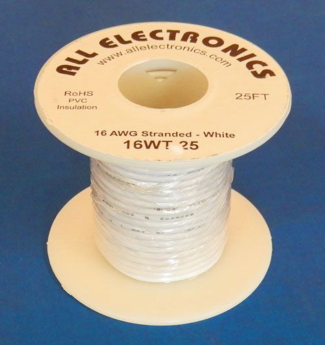 16 GA WHITE HOOK UP WIRE, STR 25'